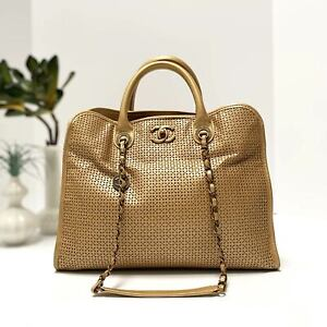 """CHANEL Gold Perforated Leather """"Up In The Air"""" Dubai Large Shopping Tote Bag"""