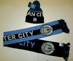 Unisex Manchester City Scarf & Beanie Soccer Set Kit New Official Premier League