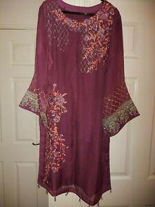 Pakistani Indian Designer Embroidered Readymade Trouser Suit 3 Piece Purple L
