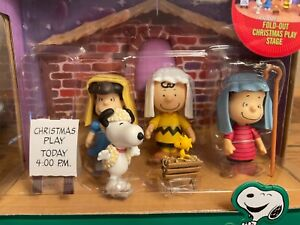 PEANUTS NATIVITY Christmas Play Stage Set of 5 Mini Figurine Set NEW IN BOX A+++