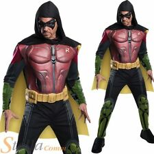 Mens Deluxe Arkham Origins Robin Costume Halloween Batman Fancy Dress Outfit