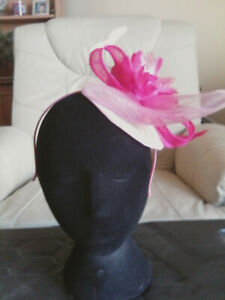 Fascinator - Pink sinamay with flower, feathers on sinamay base on h/band