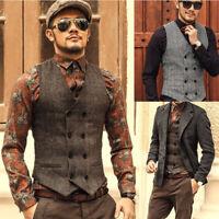 Mens Vintage Slim Fit Casual Waistcoat Gilet Formal Business Jacket Suit Vest