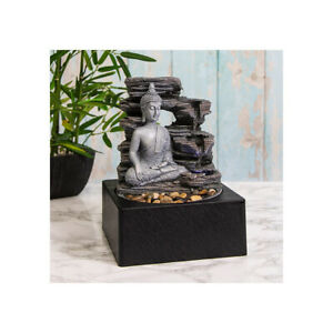 Lesser & Pavey Tranquility LED Indoor Water Fountain Buddha and Waterfall