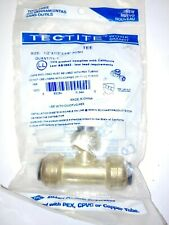 """Tectite Sharkbite Style Push to connect 1/2"""" x 1/2"""" x 3/8"""" reducing tee, Brass"""