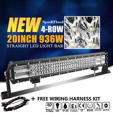 8D+ 20Inch 936W CREE Led Spot Flood Combo Quad Rows Light Bar Driving VS Tri-Row
