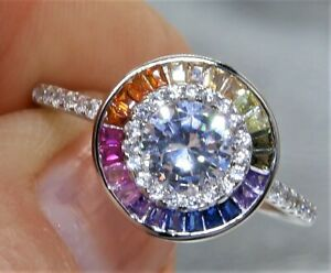 925 SILVER RAINBOW SAPPHIRE DIAMOND  CLUSTER  LADIES RING SIZE K  STERLING