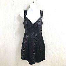 BCBG Women Dress Cocktail Size 0 Black Multi-Color Embellished Animal Lined Silk