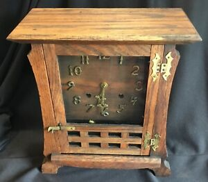 Antique New Haven Shop of the Crafters Arts & Crafts Mission Oak Mantel Clock