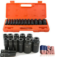 "1/2"" in. Drive Deep Impact Socket kit 10-32mm Metric Garage wrench tool + Case"
