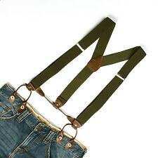 Pickle Green Men's Adjustable Elastic Button Holes Suspenders Solid Braces BD703