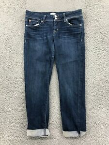 Hudson Jeans 29 High Rise Skinny Crop Cuffed Hem Blue Denim Pants Womens