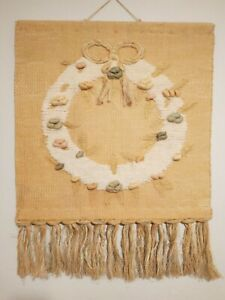 """Vintage 1988 ICA Woven Wall-hanging Tapestry Fiber Art Wreath Large 37"""" x 29"""""""