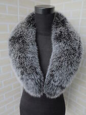 Sale! Real fox fur collar / wrap /fur scarf black with white tip collar 80*14cm