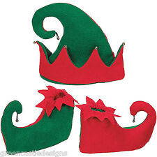 Elf Hat & Shoes Slippers Bells 3pc Christmas Costume Santa's Helper Photo Props