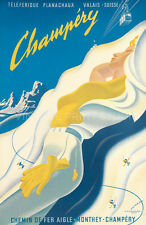 Ski Champery Vintage Travel Poster Giclee Canvas Print 30x46