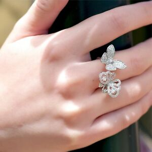 18K White Gold butterfly flying beauty Simulated Diamond ring free size