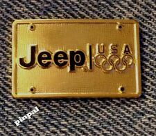 Jeep Olympic Sponsor Pin~undated~USA Team~License Plate~Gold Tone~Cars Auto