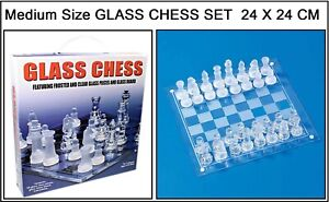 MEDIUM SIZE 24CM GLASS BOARD TRADITIONAL CHESS SET UNIQUE AMAZING GIFT MIND GAME