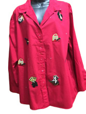 Bobbie Brooks Shirt 18/20W  Red Button Embellished Bling Hat Shoe Purse Lady Top