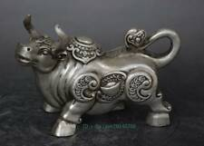 Chinese old copper plating silver engraving beautiful cow Sycee statue