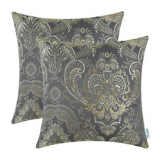 "2pcs Cushion Covers Pillows Shell Reversible Vintage Florals Grey 18""x18"""