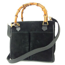Auth GUCCI Vintage Bamboo Leather 2WAY Small Shoulder Hand Bag Italy  13160bkac
