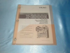 TEAC X-2000R  REEL TO REEL OWNERS MANUAL FREE SAME DAY SHIPPING