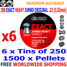 JSB EXACT HEAVY JUMBO ORIGINAL .22 5.52mm Airgun Pellets 6(tins)x250pcs