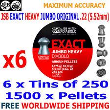 JSB EXACT HEAVY JUMBO ORIGINAL .22 5.52mm Airgun Pellets 6(tins)x250pcs