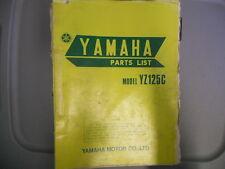Yamaha Parts List Manual 1974 YZ125C YZ125 C