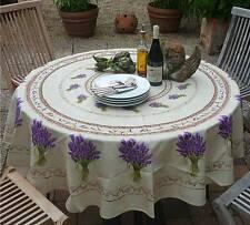 Tischdecke Provence 180 cm rund creme Lavendel aus Frankreich, pflegeleicht