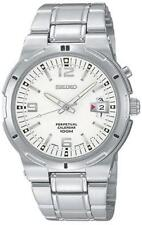 SEIKO PERPETUAL CALENDAR DATE WHITE DIAL STAINLESS STEEL MEN'S WATCH SNQ075 NEW