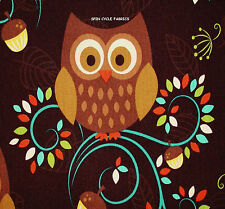 1YD Folk Art HAPPY HOOTERS OWLS OWL BIRDS Modern Scandinavian Fabric M Miller