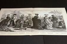 Victorian Ladies Girls Fashion DRESSES CLOAKS MANTLES 1883 Large Engraving Print
