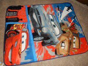 Disney Pixar Cars 2 McQueen Mater Finn Minky Plush Throw Blanket Toddler Bed