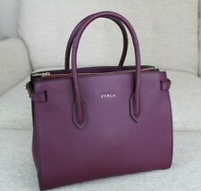 NWT Furla Pin East/West Tote Amaranto Purple Leather Bag