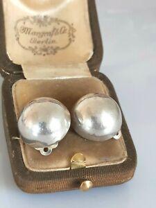 Wunderschöne ältere Ohrclips Silber 925, stilvolles Design, Halbkugeln