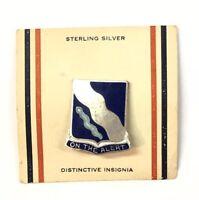 """Lovely Sterling Silver .925 Blue Enamel """"On The Alert"""" Brooch Pin"""