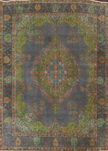 Vintage Geometric Tebriz Hand-knotted Wool Area Rug GRAY Oriental 9'x12' Carpet