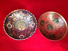 Solid Brass Two Bowls, Hand Painted Red  Floral Peacock Pattern, Made In India