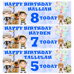 DISNEY UP Personalised Birthday Banner - UP Birthday Party Banner - 3x1Ft