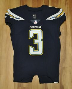 #3 LOS ANGELES CHARGERS NIKE 2017 TEAM GAME ISSUED ON FIELD BLUE JERSEY 40+4