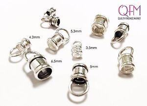 6 Pcs/Pkg Crimp End Cap Sterling/Antique silver 3.5mm, 4.2mm, 5mm, 5.3mm, 6.5mm
