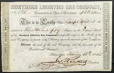 NORTHERN LIBERTIES GAS CO. Stock 1845. Philadelphia. Historic, Early Gas Company