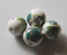 30pcs 10mm Round Porcelain/Ceramic Beads - White / Dark Teal Flowers