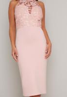 Chi-Chi Abbie Dress Pink Mink Ladies UK 10 *Ref53