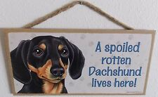 """New listing A Spoiled Rotten Dachshund Lives Here! 5"""" X 10"""" Wood Dog Sign Plaque"""