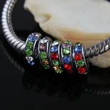 Lots New Czech Crystal Big Hole Spacer Charm Beads for European Bracelet 8mm