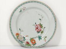 Plat assiette porcelaine Compagnie des Indes famille verte fleurs XVIIIème